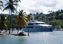 M/Y Seahawk departing Marigot, St Lucia